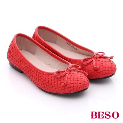 BESO 簡約知性 真皮羽狀蝴蝶結娃娃平底鞋 紅