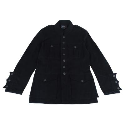 AgnesB-立領風衣釦式外套-男-黑