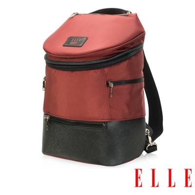 ELLE HOMME 法式精品休閒10吋筆電設計(小) 頭層皮直立體圓筒大容量後背包-暗紅