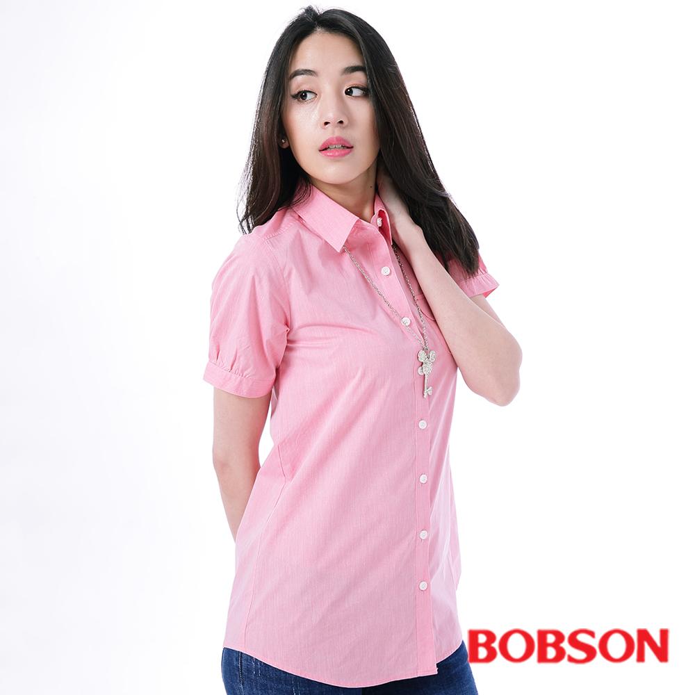 BOBSON  女款粉紅素面長版襯衫