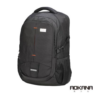 AOKANA奧卡納 輕量防潑水護脊電腦商務後背包(神秘黑)68-093