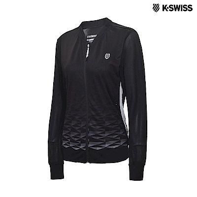 K-Swiss Print Mesh Jacket網面運動外套-女-黑