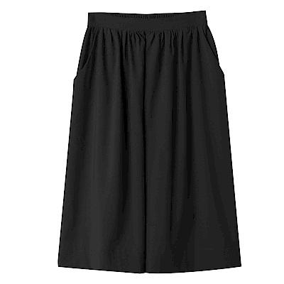 純色質感修身傘襬寬褲-OB嚴選