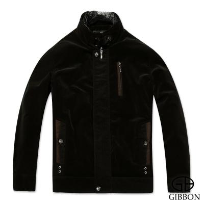 GIBBON 禦寒外套優雅質感仿絨條紋‧黑褐