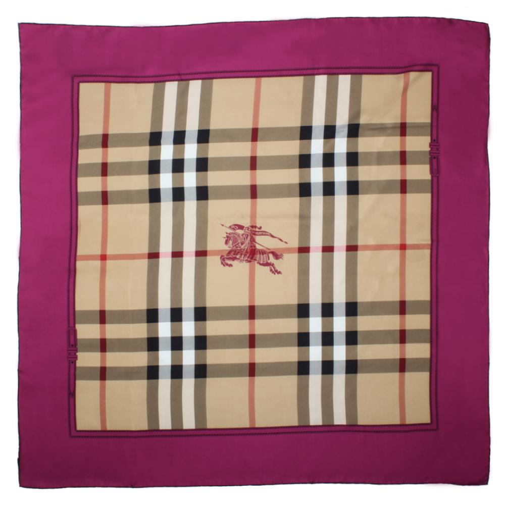 BURBERRY  HORSEFERRY 格紋絲綢大方巾-桃粉色