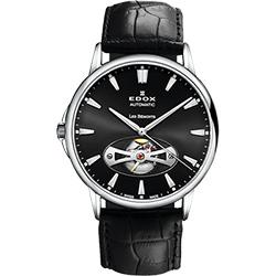 EDOX Les Bemonts Open Vision 薄曼系列機械腕錶-黑/42mm
