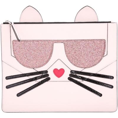 KARL LAGERFELD Choupette 貓咪造型萬用扁包(粉色)