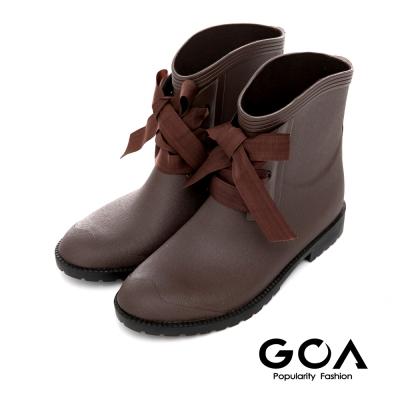 GOA百搭素面精靈綁帶短筒雨靴-咖啡色