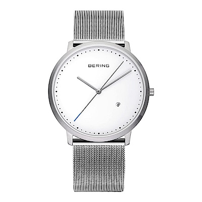 BERING丹麥精品手錶 創意長秒針系列 銀色金屬米蘭帶 39mm