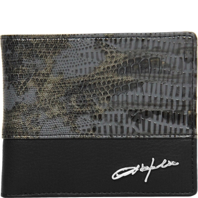 OBHOLIC 蛇紋PVC拼接義大利NAPPA軟牛皮 短夾 皮夾 (黑)