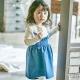 Lala韓國 藍色鬆緊小點點吊帶裙 product thumbnail 1