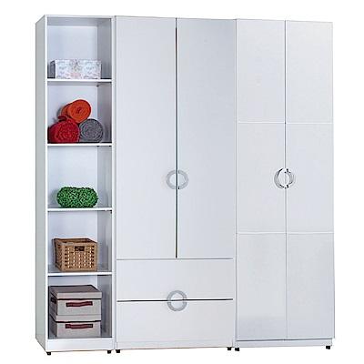 AT HOME-凱倫6尺白色三件組合衣櫃[五格+二抽+雙吊](180*54*197cm)