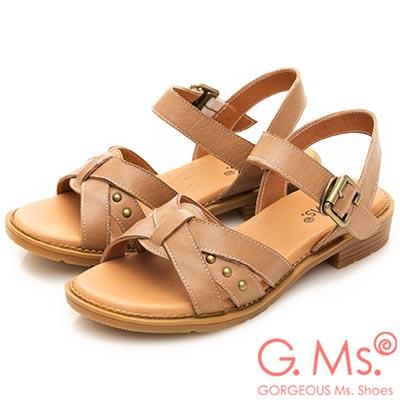 G.Ms. MIT系列-米字鉚釘繫帶牛皮平底涼鞋-卡其色