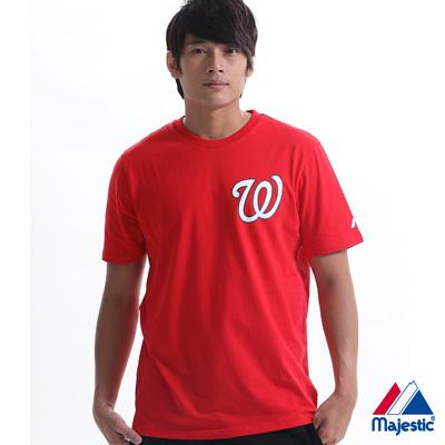 Majestic-華盛頓國民隊隊徽短袖T恤-紅