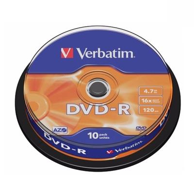 Verbatim 威寶 DVD-R 4.7GB 16X 光碟片 布丁桶裝 (10片)