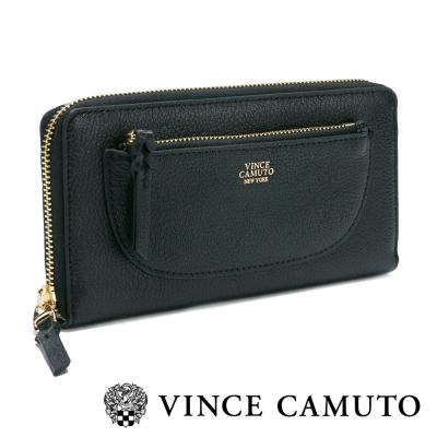 VINCE CAMUTO 都會經典 質感拉鍊式外袋長夾-黑色