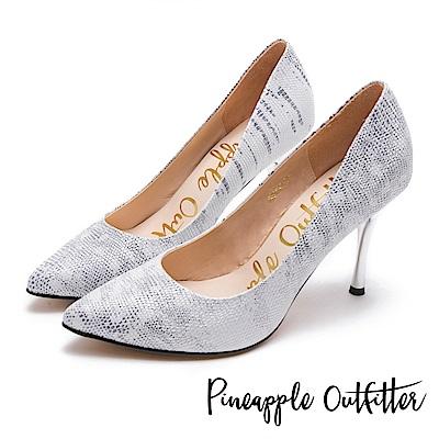 Pineapple Outfitter 時髦女伶 性感尖頭蛇紋金屬高跟鞋-銀色