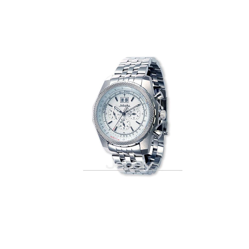 Jebely瑞士機械錶_伯尼納快車系列_正三眼造型多功能機械錶-白/42mm