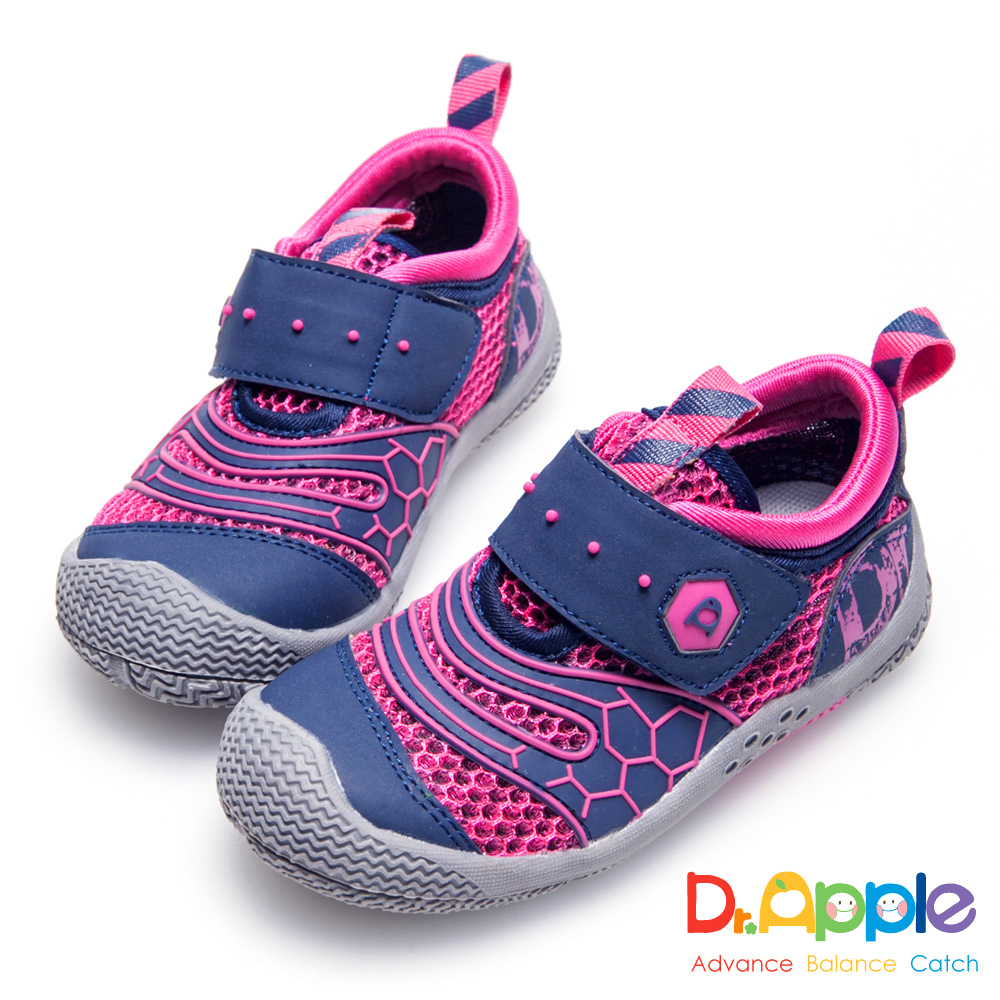 Dr. Apple 機能童鞋 帥氣LOGO印刷透氣中童鞋-桃