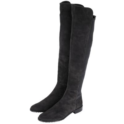 Stuart Weitzman SCHIZO 麂皮拼接過膝長靴(深灰色)