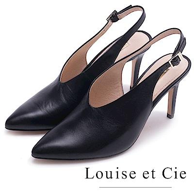 Louise et Cie 真皮素面V口尖頭高跟鞋-黑色