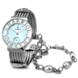 CHARRIOL NEW夏利豪銀色珍珠可拆式鎖鍊錶-珍珠貝/30mm