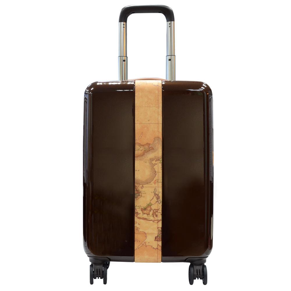 Alviero Martini 義大利地圖包 壓克力/帆布條行李箱(22吋)-咖啡