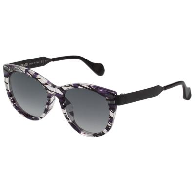 FENDI 方形 紋路 太陽眼鏡 (透明+紫色+黑色)