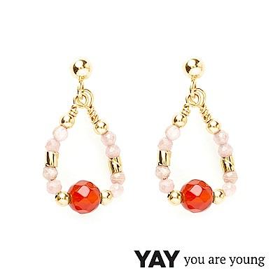 YAY You Are Young 法國品牌 Cleo 玫瑰粉玉石耳環 水滴墜設計 金色
