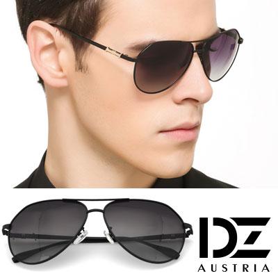 DZ 斜金焦點飾 抗UV 偏光太陽眼鏡墨鏡(黑框漸層灰片)