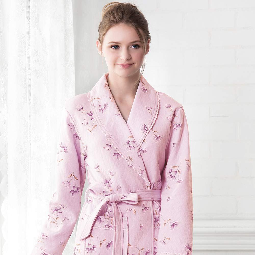 羅絲美睡衣 - 花意蔓延長袖綁帶睡袍(甜美粉)