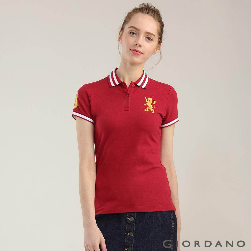GIORDANO女裝勝利獅王3D刺繡彈力萊卡POLO衫-18標誌紅