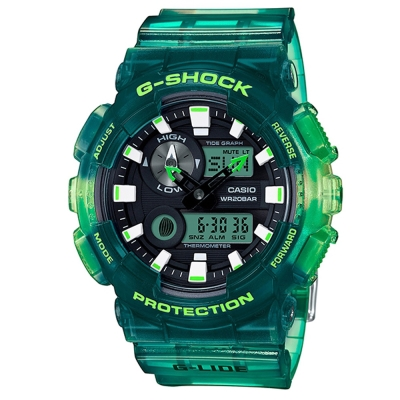 G-SHOCK頂級衝浪極限運動設計漸層果凍運動錶(GAX-100MSA-3A)綠/51mm