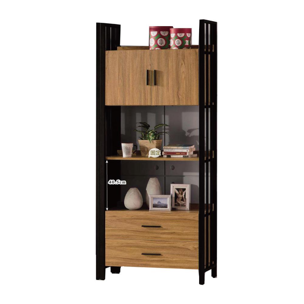 品家居 柏樂2.8尺木紋二門二抽開放式書櫃(二色可選)-84.2x40x203cm免組