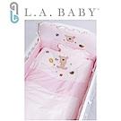 【美國 L.A. Baby】向日葵花園純棉七件套寢具組(M)( 粉色)