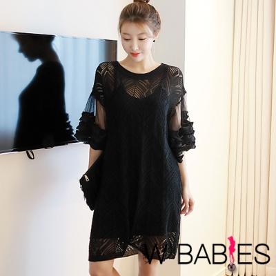 正韓 透膚蕾絲寬袖短裙洋裝 (黑色)-W BABIES