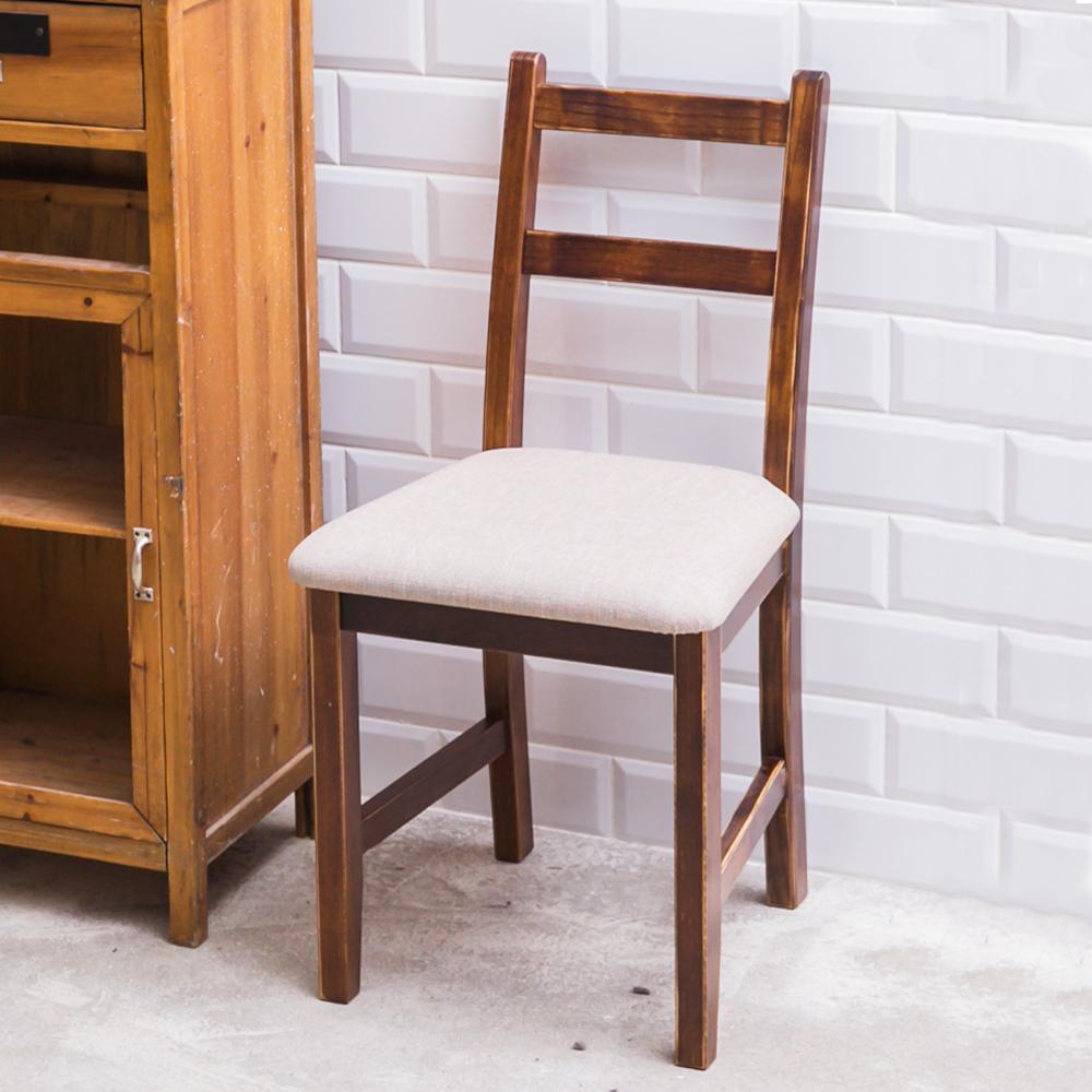 CiS自然行實木家具- 北歐實木書椅(焦糖色)淺灰色椅墊