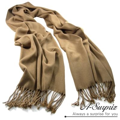 A-Surpriz 氣質優雅素色寬版仿羊絨披肩圍巾(品味駝)
