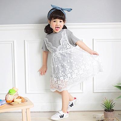 兩件式純色上衣X全蕾絲外襯長版上衣/洋裝-OB大尺碼