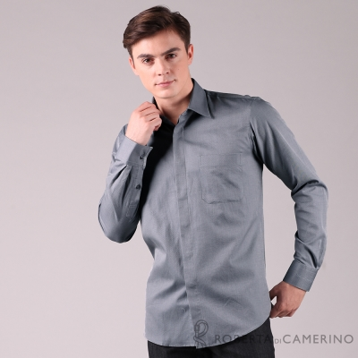 ROBERTA諾貝達 進口素材 台灣製 都會休閒 純棉長袖襯衫 灰色