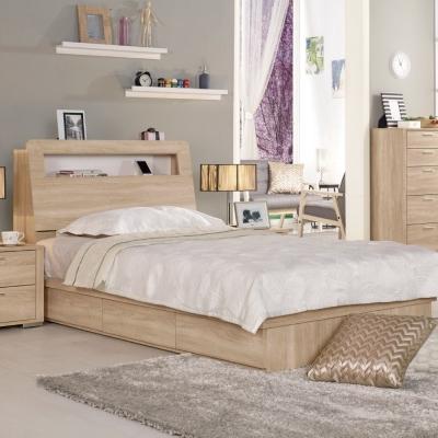 床台 單人3.5尺 葛瑞絲 橡木紋 (床頭箱+床底)不含床墊 品家居