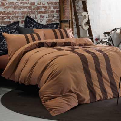 Aileen-深情咖啡-拼色運動-單人三件式被套床