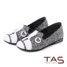 TAS 鬥牛犬造型拼貼平底樂福鞋-亮銀灰