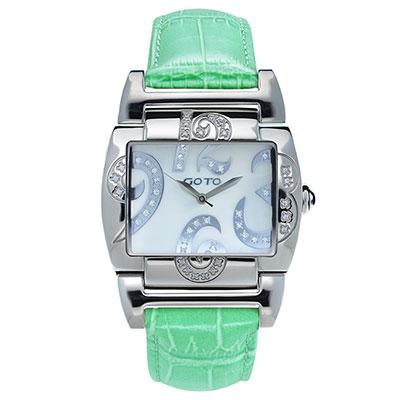 GOTO 浪漫甜心愛鑲鑽腕錶-白x青綠皮/39mm
