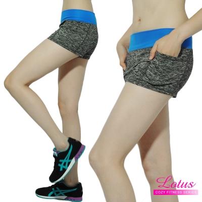 運動褲-撞色蜜桃臀小口袋緊身速乾運動短褲-閃電藍-LOTUS