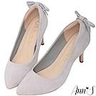 Ann'S迷人標準-後跟立體蝴蝶結低跟尖頭鞋-灰