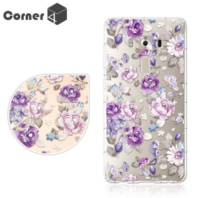 Corner4 ZenFone3 Deluxe ZS570KL奧地利彩鑽防摔手機殼-紫薔薇