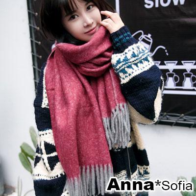AnnaSofia-雪點飄零-仿羊絨大披肩圍巾-紅系