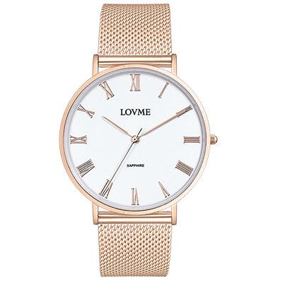 LOVME 學院風米蘭時尚手錶-IP玫x白/41mm
