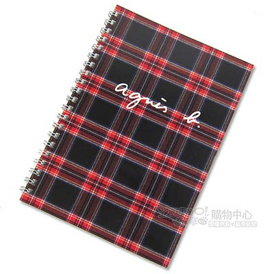 agnes b.線圈蘇格蘭紋筆記本(黑)